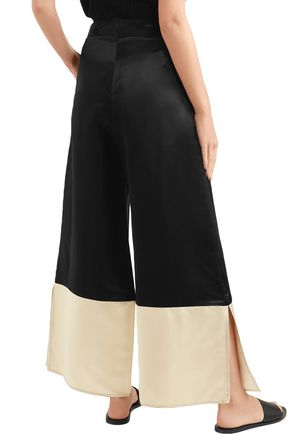 BEAUFILLE Sina two-tone satin wide-leg pants