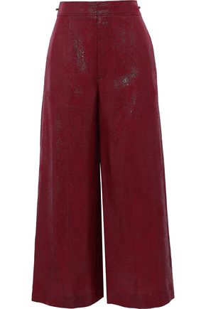 ROLAND MOURET Costello metallic silk-blend jacquard wide-leg pants