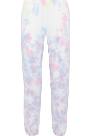 WILDFOX Tie-dyed French cotton-terry track pants