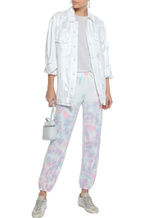 Wildfox Woman Tie-Dyed French Cotton-Terry Track Pants Multicolor