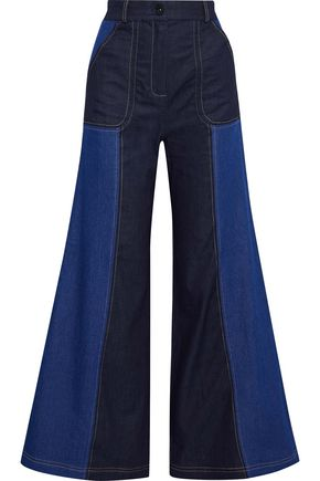PAPER London Hello two-tone high-rise flared jeans