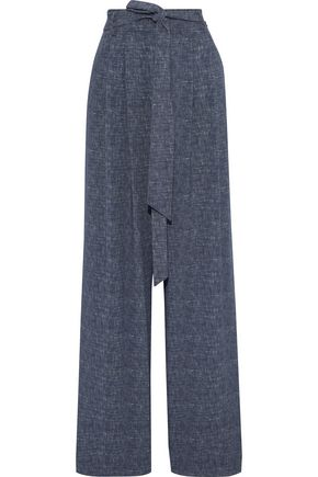 MILLY Natalie belted marled twill wide-leg pants