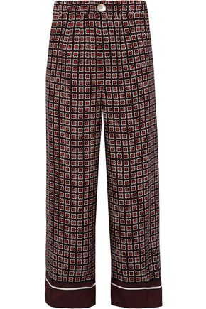 GOEN.J Cropped checked silk wide-leg pants