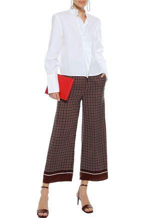 GOEN.J Cropped checked silk wide-leg pants