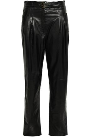 ALBERTA FERRETTI Belted leather tapered pants