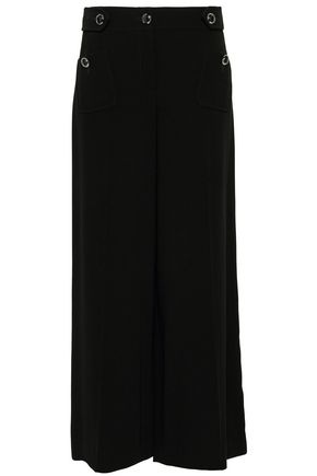 BOUTIQUE MOSCHINO Button-detailed stretch-crepe wide-leg pants