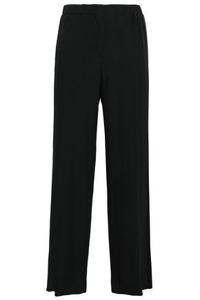 ALBERTA FERRETTI Satin-trimmed crepe wide-leg pants