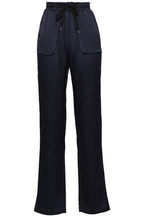 ROLAND MOURET Silk-seersucker straight-leg pants
