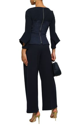 ROLAND MOURET Pleated stretch-crepe wide-leg pants
