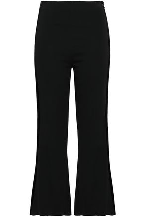 ROLAND MOURET Velvet-trimmed stretch-crepe flared pants