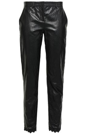 PHILOSOPHY di LORENZO SERAFINI Broderie anglaise-trimmed coated woven slim-leg pants