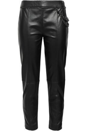 BOUTIQUE MOSCHINO Chain-embellished cropped leather slim-leg pants