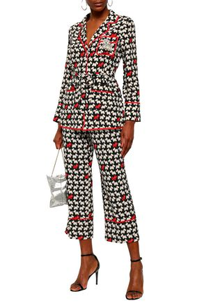 BOUTIQUE MOSCHINO Cropped printed silk crepe de chine straight-leg pants