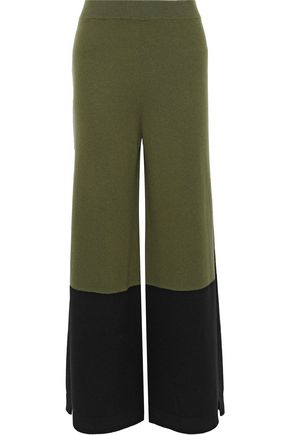 TEMPERLEY LONDON Explorer two-tone merino wool and cashmere-blend wide-leg pants