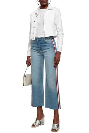L'AGENCE Striped high-rise wide-leg jeans