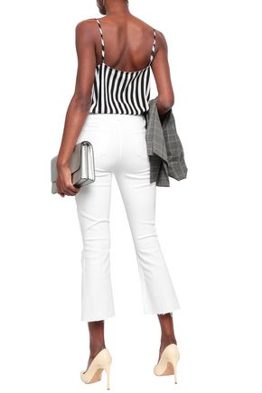 L'AGENCE Distressed high-rise kick-flare jeans