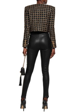 BALMAIN Studded leather skinny stirrup pants