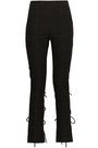 ROSIE ASSOULIN Lace-up checked woven bootcut pants