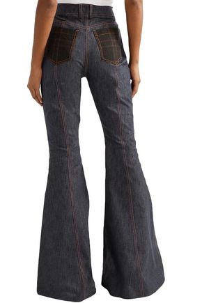 ROSIE ASSOULIN Plaid-trimmed high-rise flared jeans