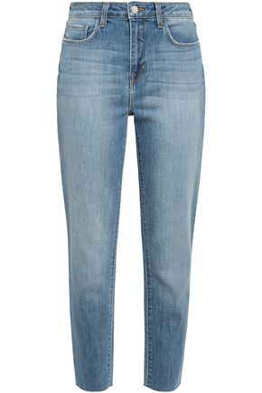 L'AGENCE Luna distressed high-rise slim-leg jeans