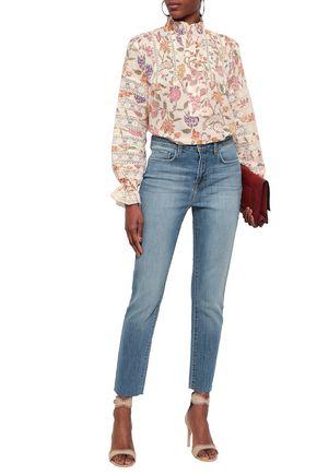 L'AGENCE Luna distressed high-rise slim-leg jeans