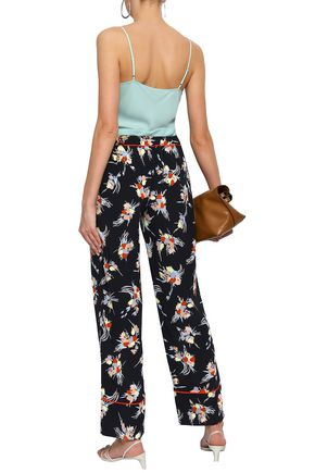 MARNI Floral-print silk crepe de chine straight-leg pants