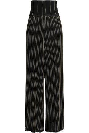 BALMAIN Metallic striped stretch-knit wide-leg pants