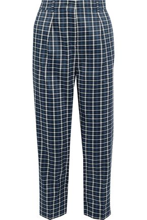 MAX MARA Cropped checked woven straight-leg pants