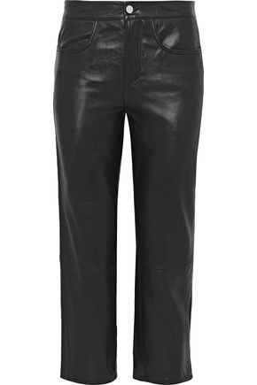 MUUBAA Cropped leather straight-leg pants