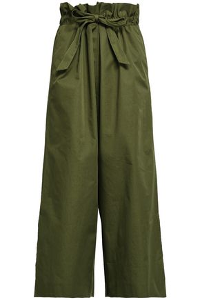 HOUSE OF DAGMAR Tie-front gathered cotton culottes