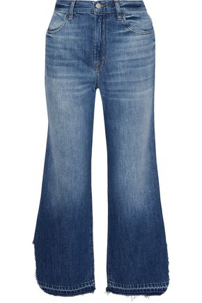 J BRAND Distressed mid-rise wide-leg jeans