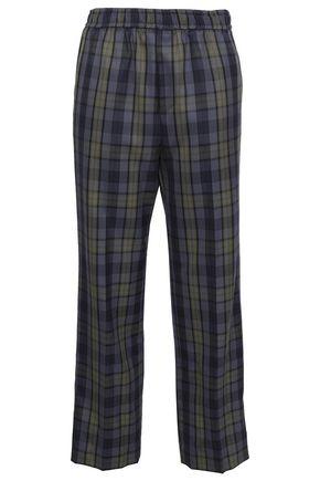 GOEN.J Checked wool-blend straight-leg pants