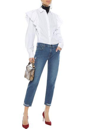J BRAND Distressed mid-rise slim-leg jeans