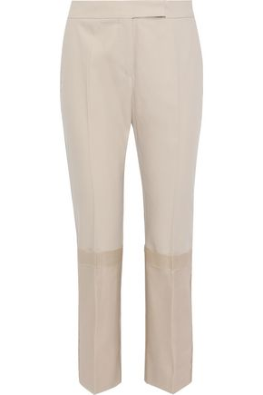 MAX MARA Mirto chiffon-paneled cotton-twill straight-leg pants