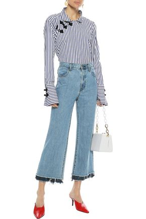 J BRAND Cropped frayed high-rise straight-leg jeans