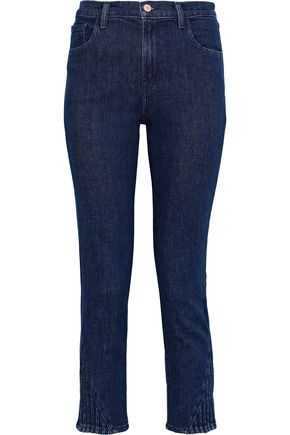 J BRAND Ruby cropped pintucked mid-rise slim-leg jeans