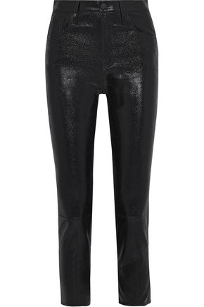 J BRAND Ruby cropped coated-leather slim-leg pants