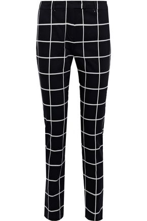 MAX MARA Checked stretch-cotton straight-leg pants