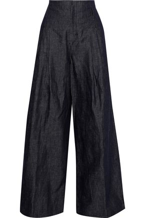 MAX MARA Ottano mélange cotton and linen-blend wide-leg pants