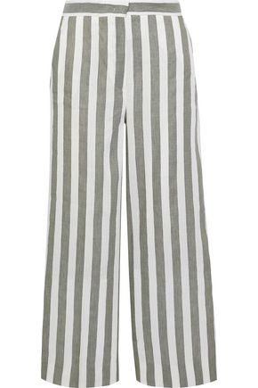 MAX MARA Ostile cropped striped linen-blend wide-leg pants