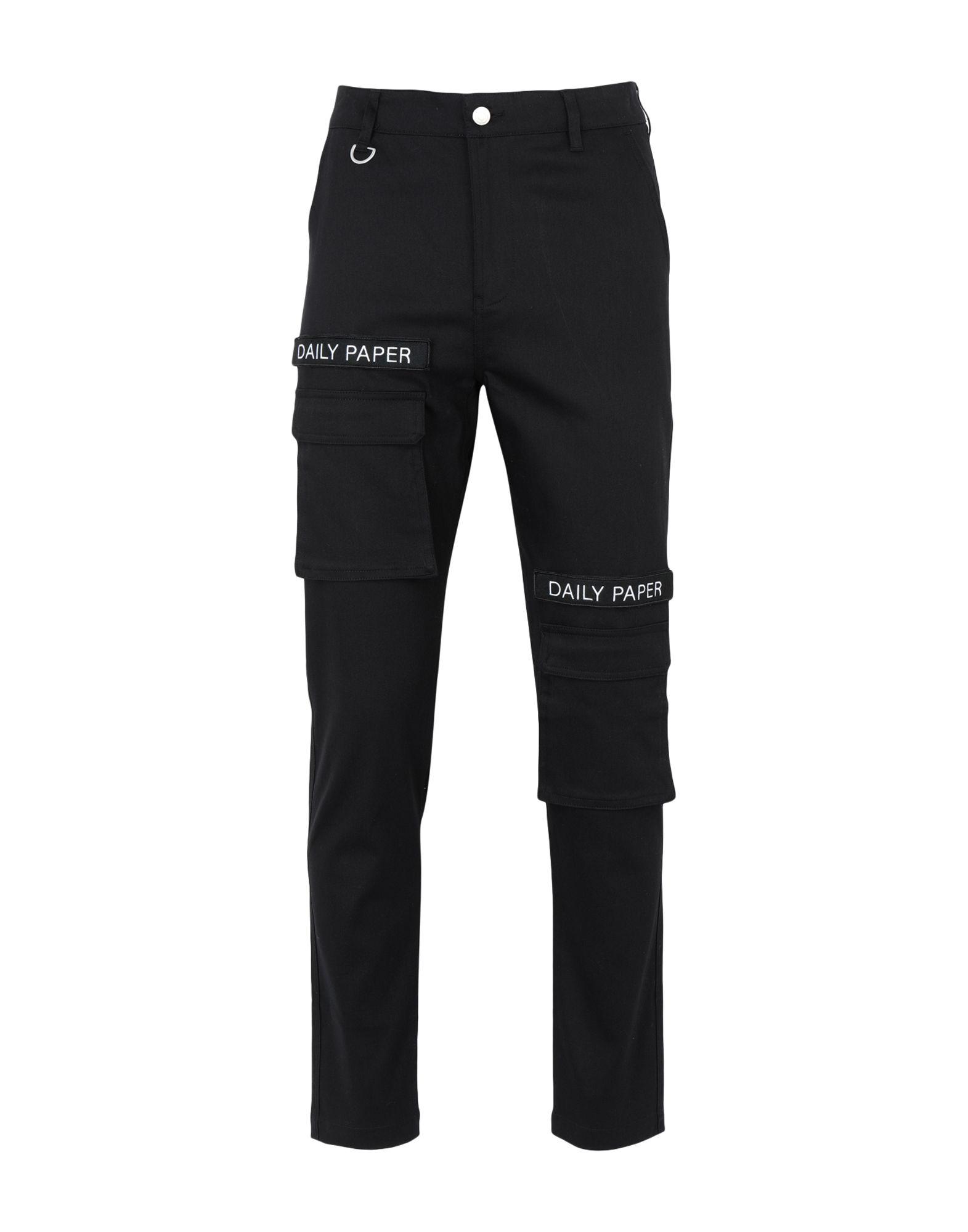 《期間限定セール中》DAILY PAPER メンズ パンツ ブラック S コットン 98% / ポリウレタン 2% BLACK CARGO PANTS