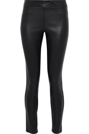 THEORY Adbelle cropped stretch-leather leggings