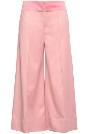ANNA OCTOBER Satin-trimmed wool-twill culottes