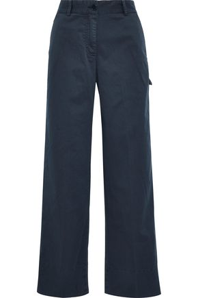 THEORY Stretch-cotton twill wide-leg pants