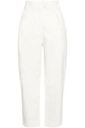 ANNA OCTOBER Cropped linen-blend straight-leg pants