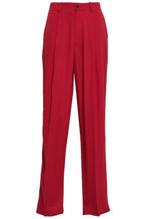JOSEPH Pleated silk-crepe wide-leg pants