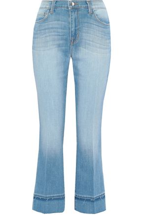 L'AGENCE Jada cropped faded mid-rise bootcut jeans