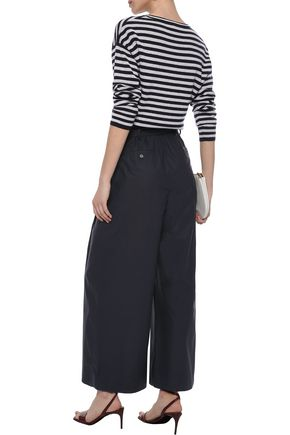 MAX MARA Belted pleated cotton-poplin wide-leg pants
