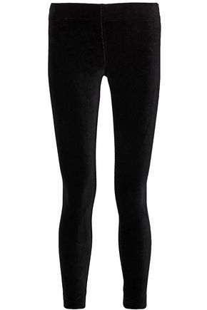 ENZA COSTA Cropped ribbed stretch-cotton leggings