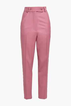 MARCO DE VINCENZO Satin-trimmed wool-blend twill tapered pants